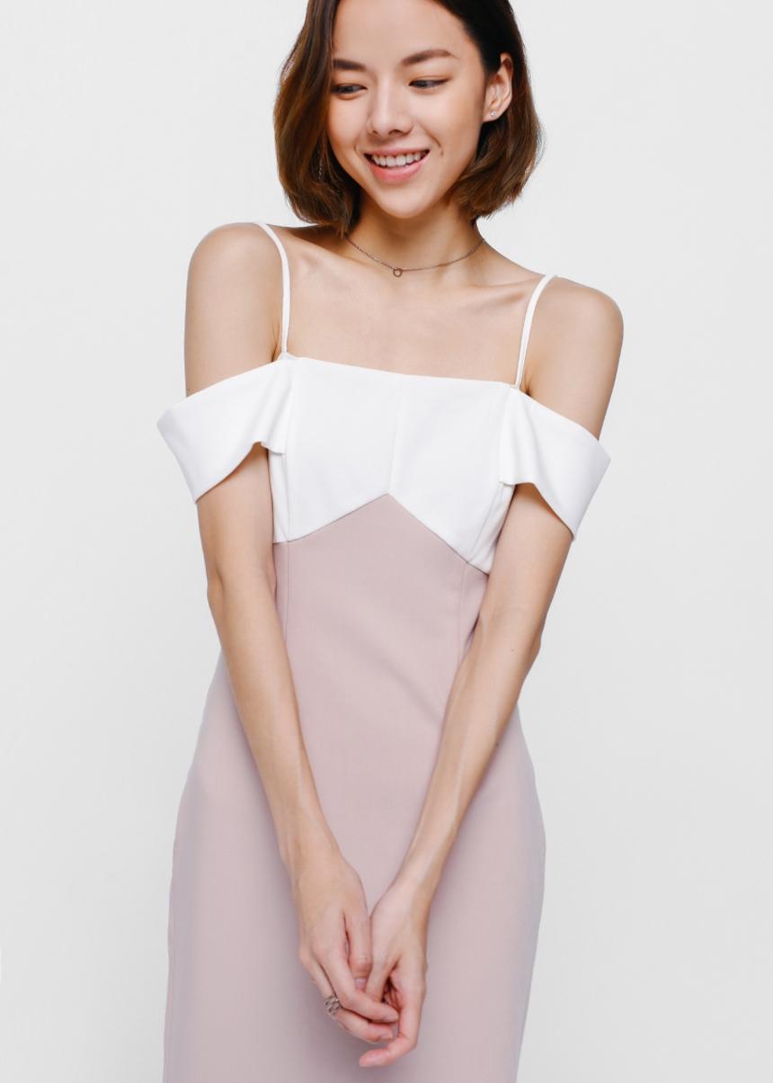 Marsha Contrast Off Shoulder Midi Dress