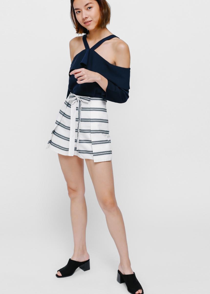 Shara Striped Foldover Shorts