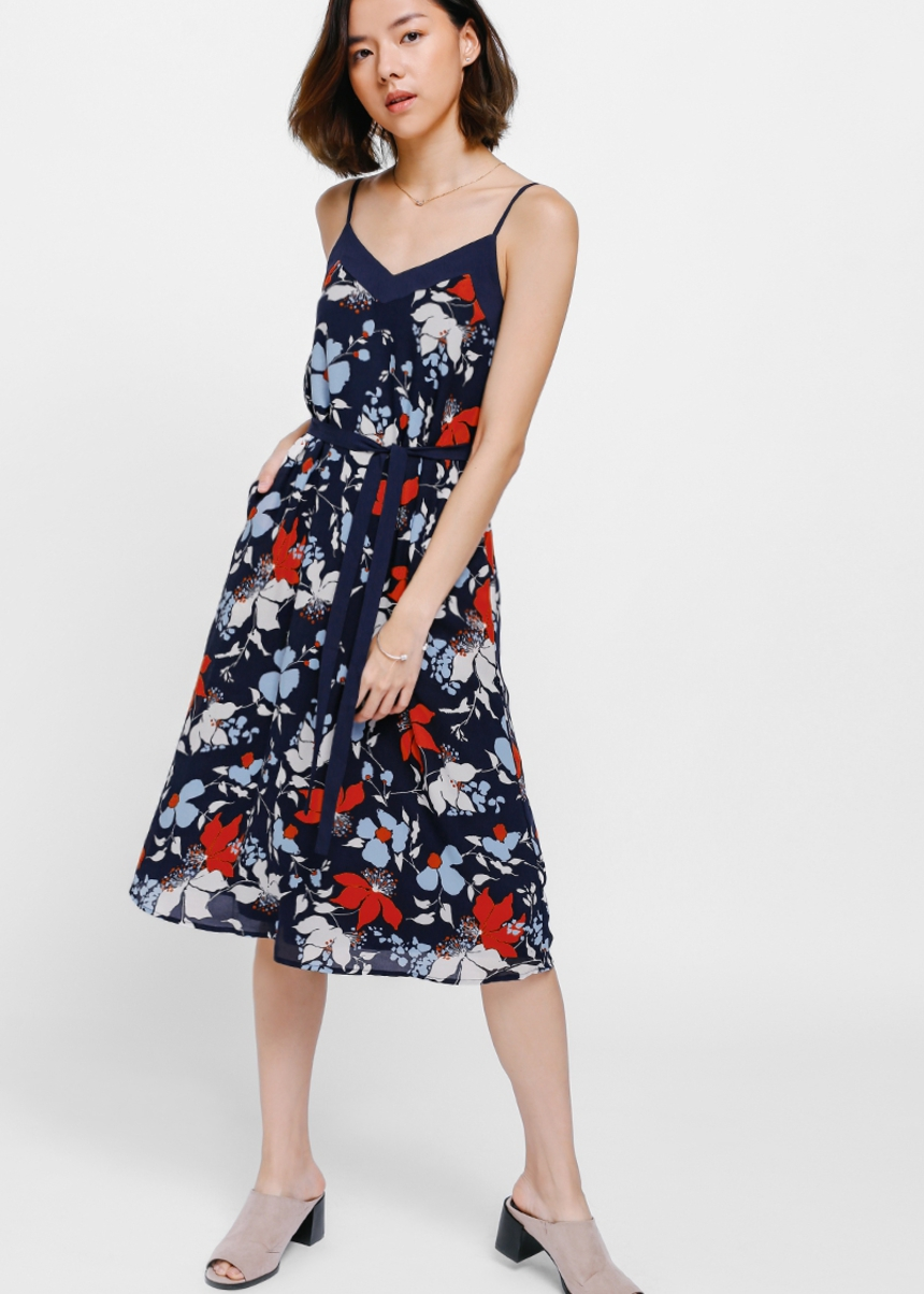Falvie Floral Sash Midi Dress