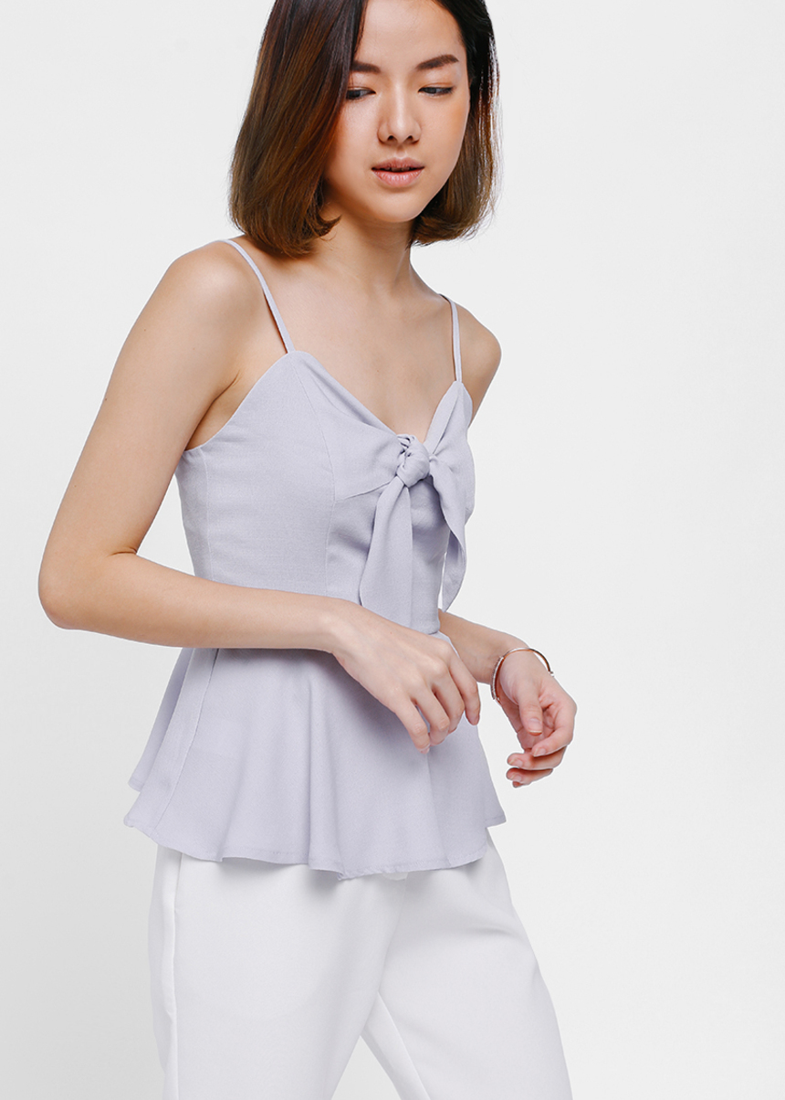 Cyneale Knot Front Peplum Camisole