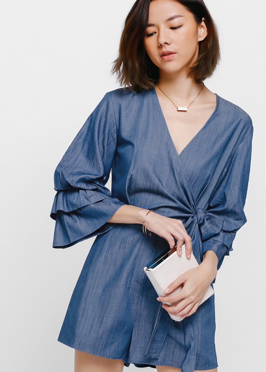 Vieta Layered Sleeve Wrap Denim Playsuit