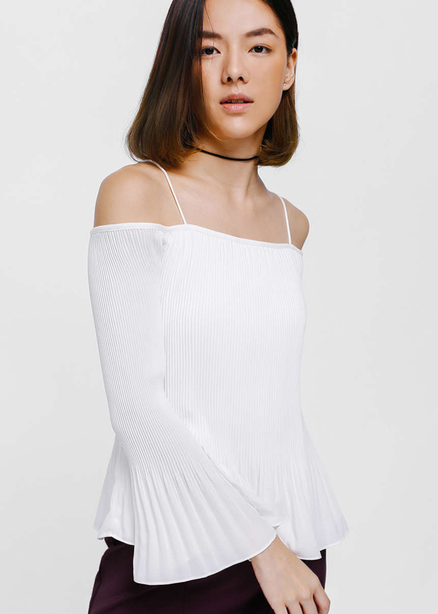 Monea Pleated Off Shoulder Top