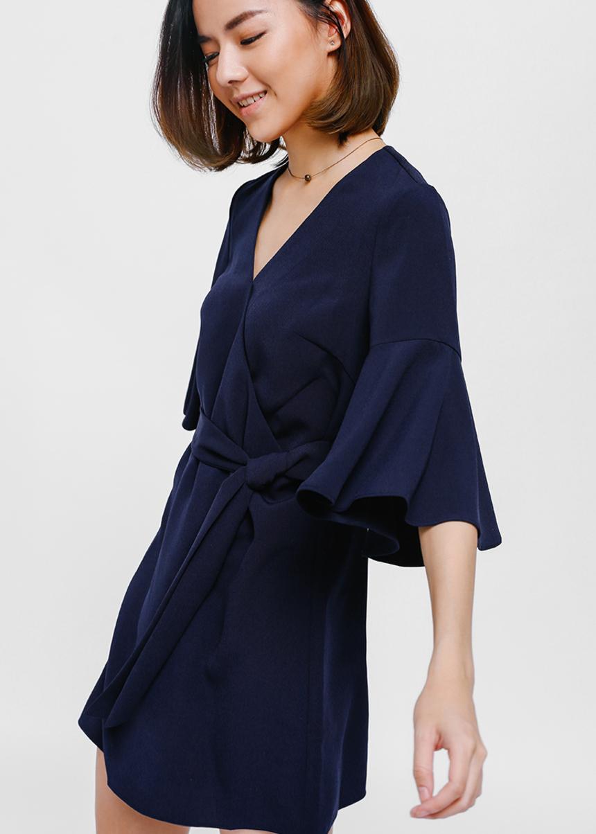 Boelle Bell Sleeve Crossover Sash Dress