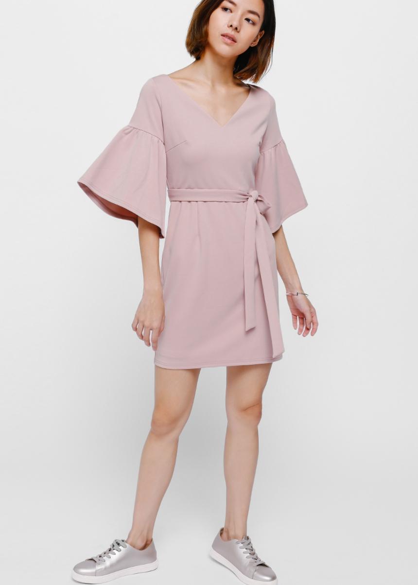 Eldrid Bell Sleeve Sash Dress