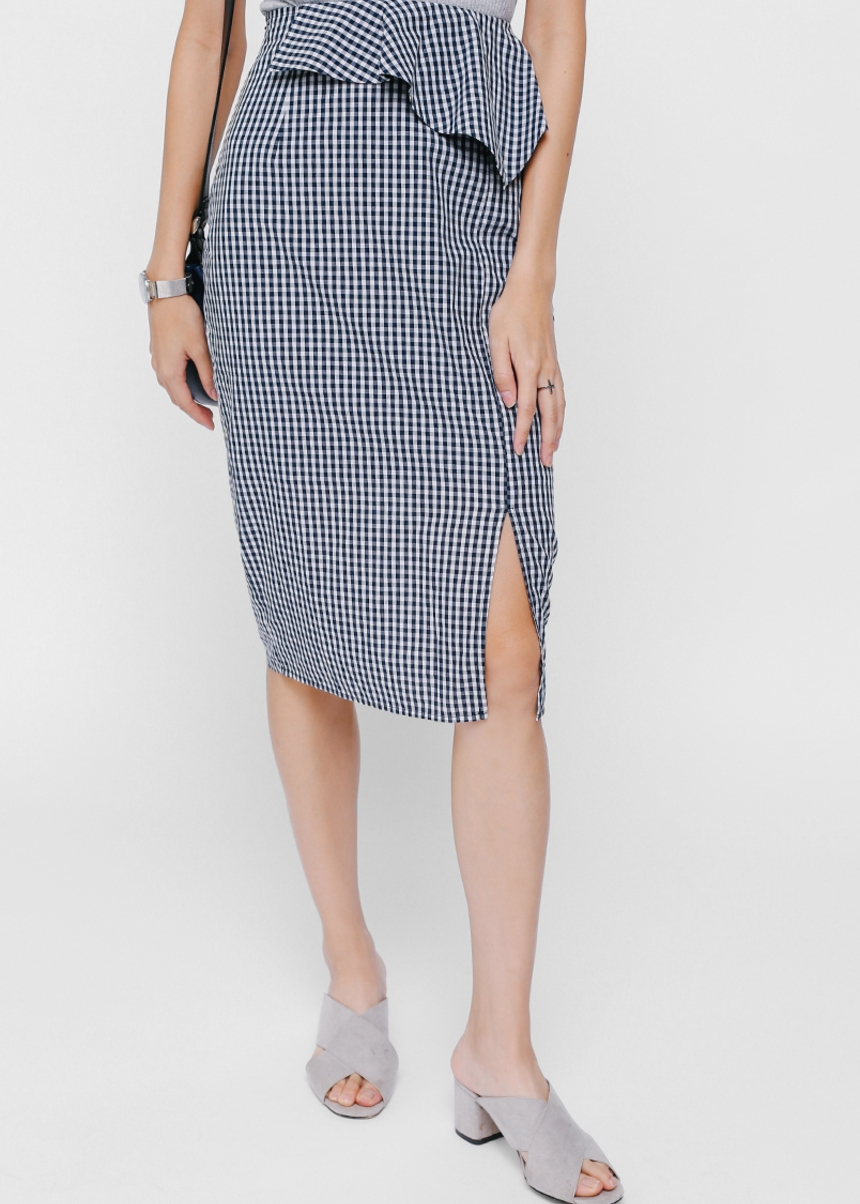 Sarye Peplum Gingham Pencil Skirt