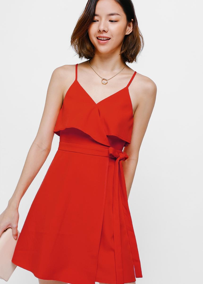 Bess Crossover Tie Side Dress