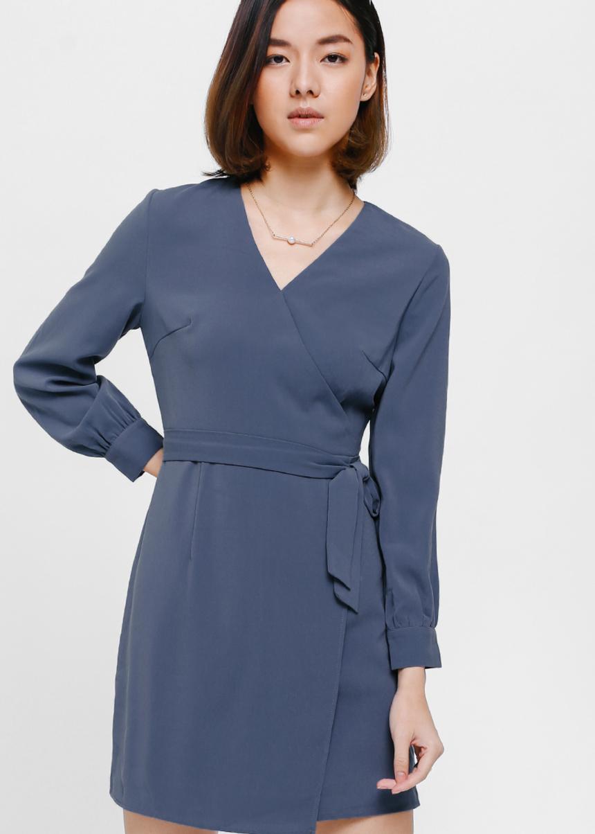 Oneryn Cuffed-Sleeve Sash Dress
