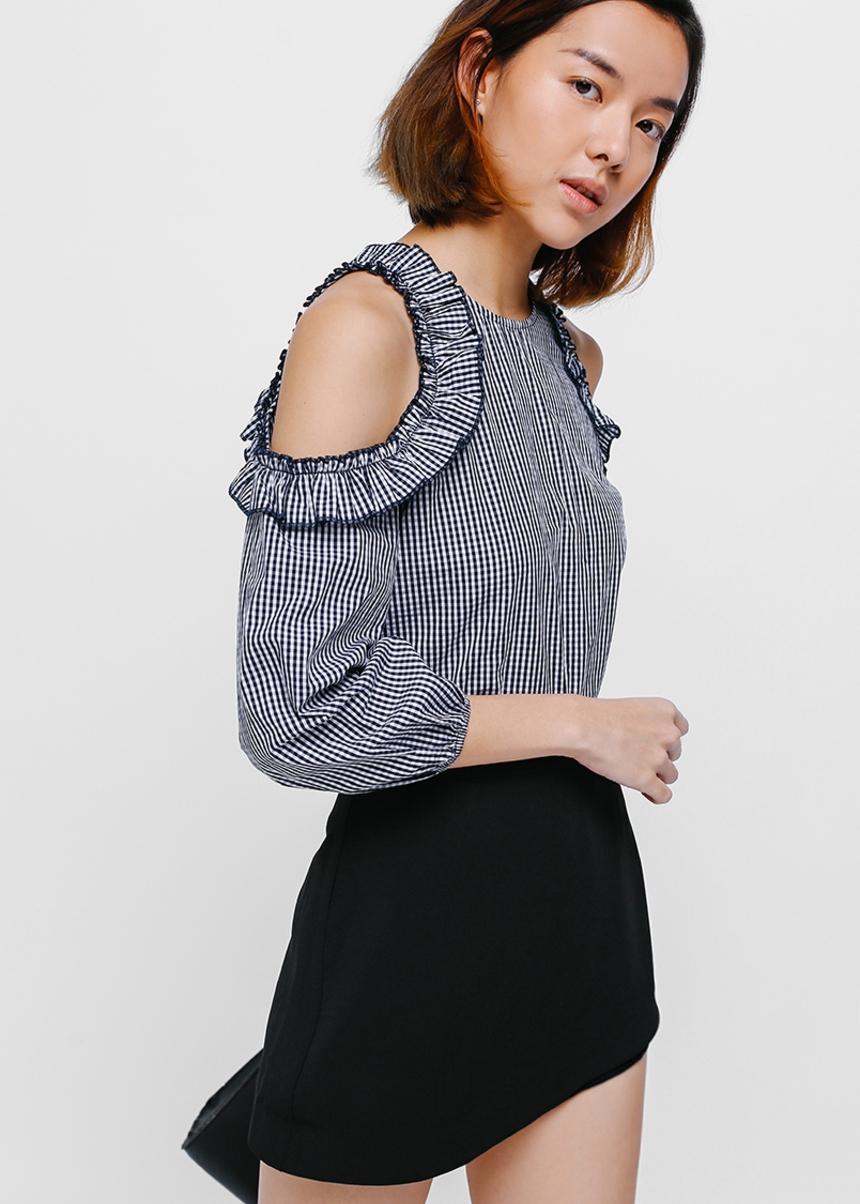 Garcelle Gingham Cutout Shoulder Top
