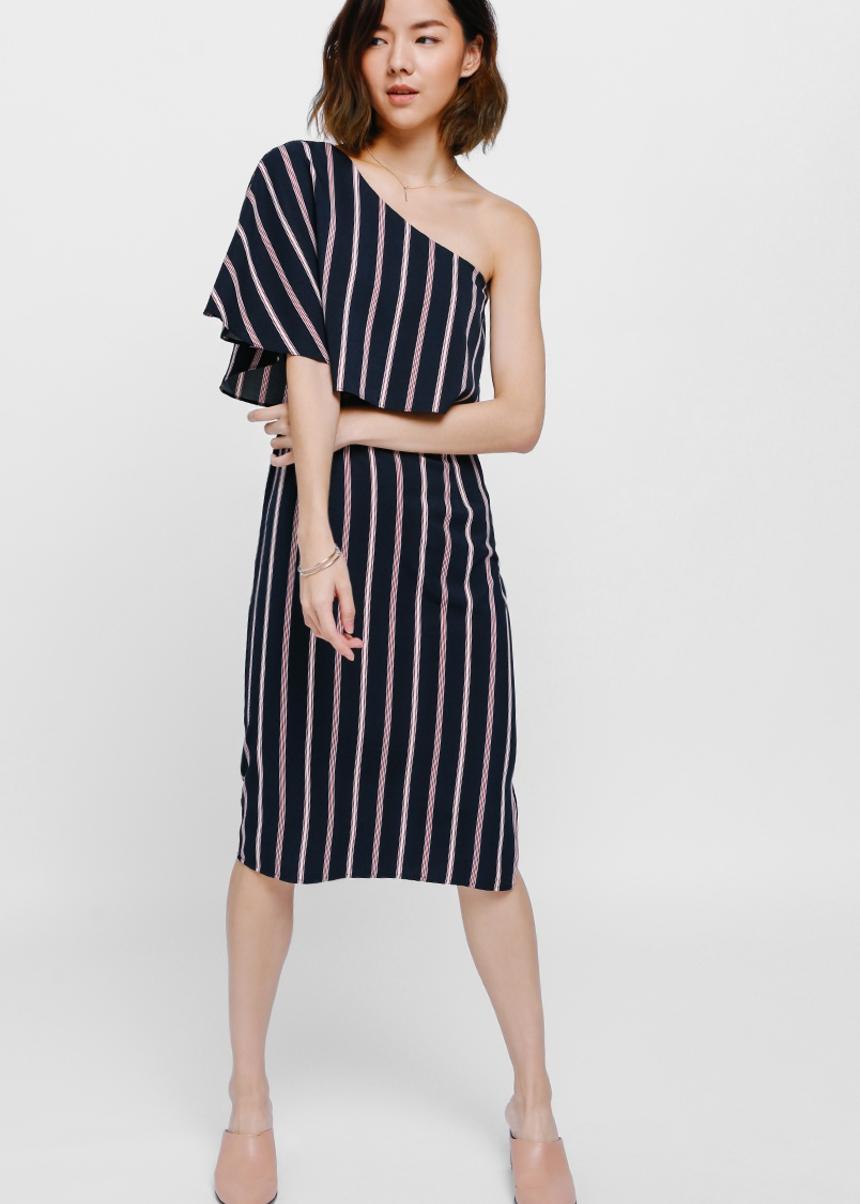 Helka Striped Layered Toga Dress
