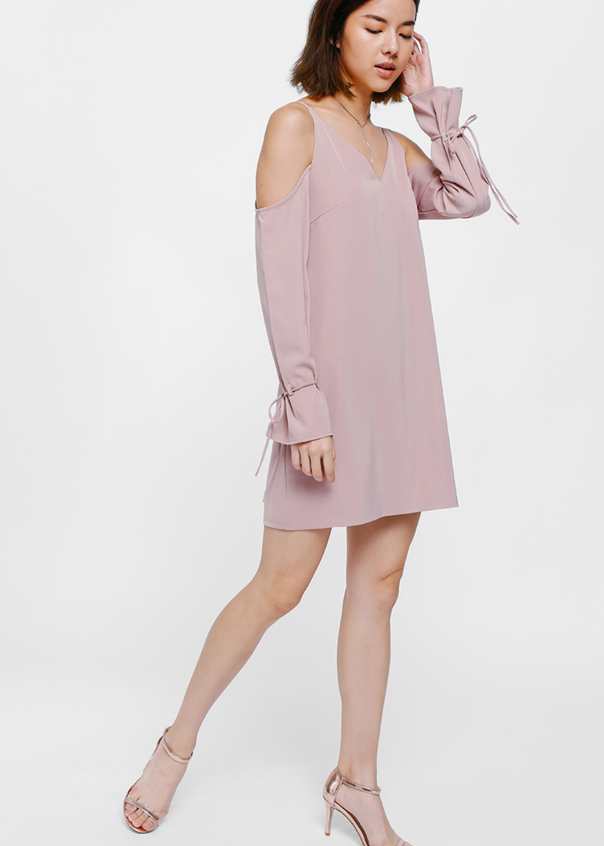Oryn Off Shoulder Tie Sleeve Dress