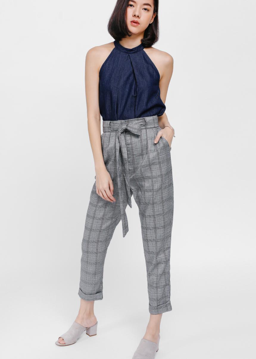 Prischa Tweed High Waist Cropped Pants