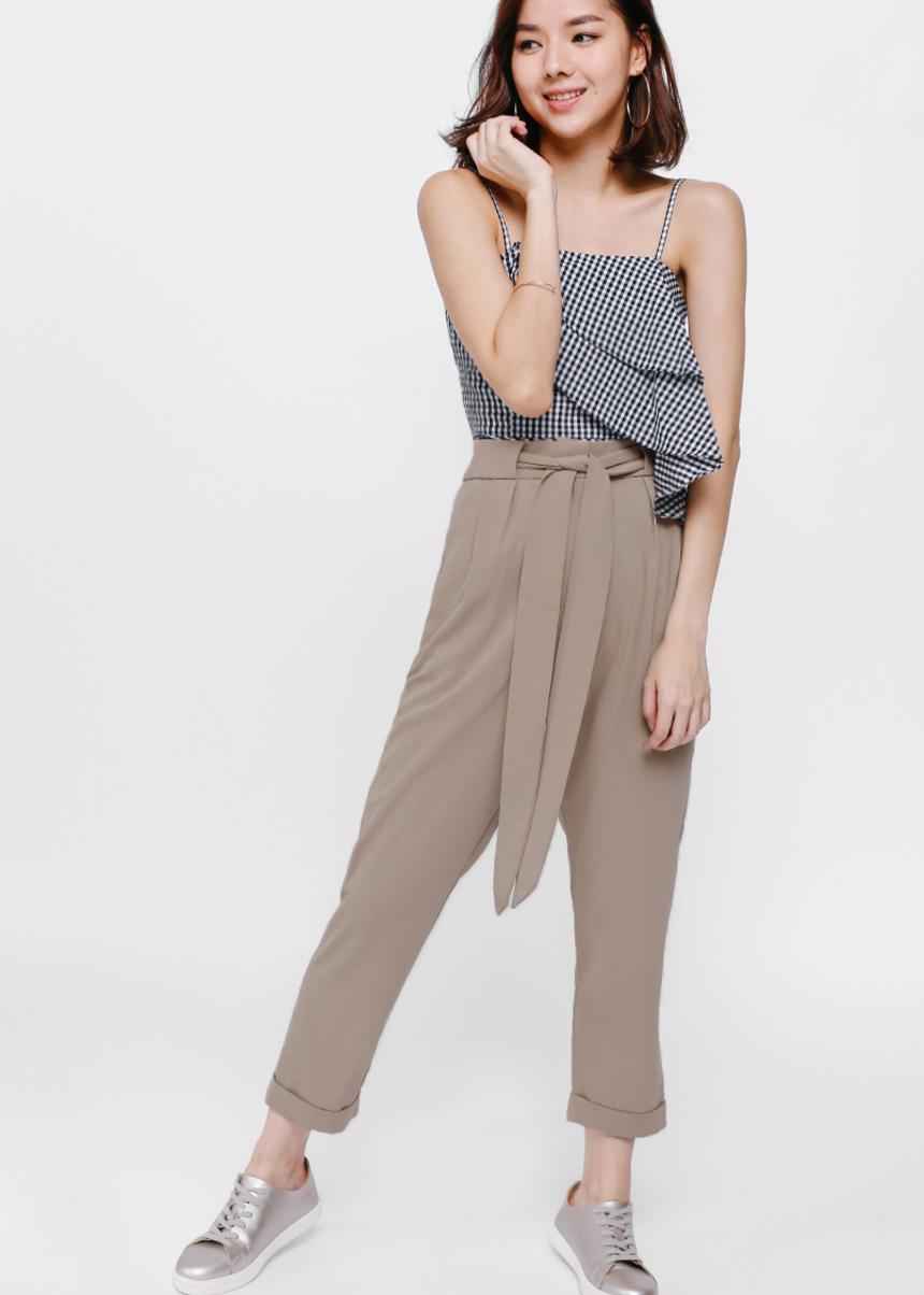 Perinne Tie Sash High Waist Cropped Pants