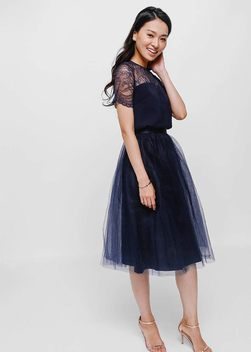 Petrine Layered Tulle Midi Skirt