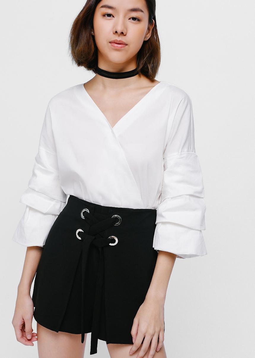Shaye Foldover Lace-up Shorts