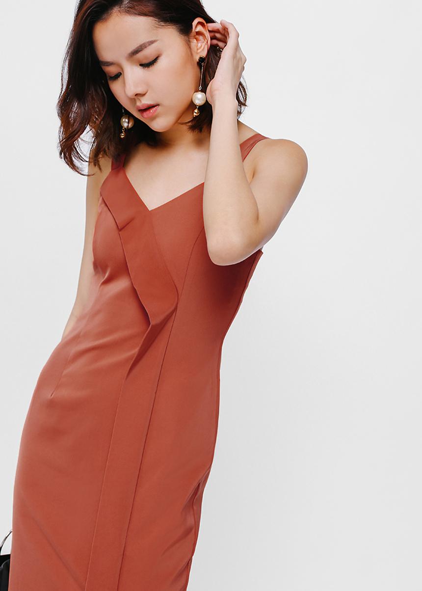 Felinda Foldover Slit Dress