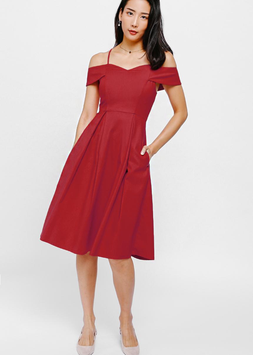 Kamara Off Shoulder Pleated Midi Dress