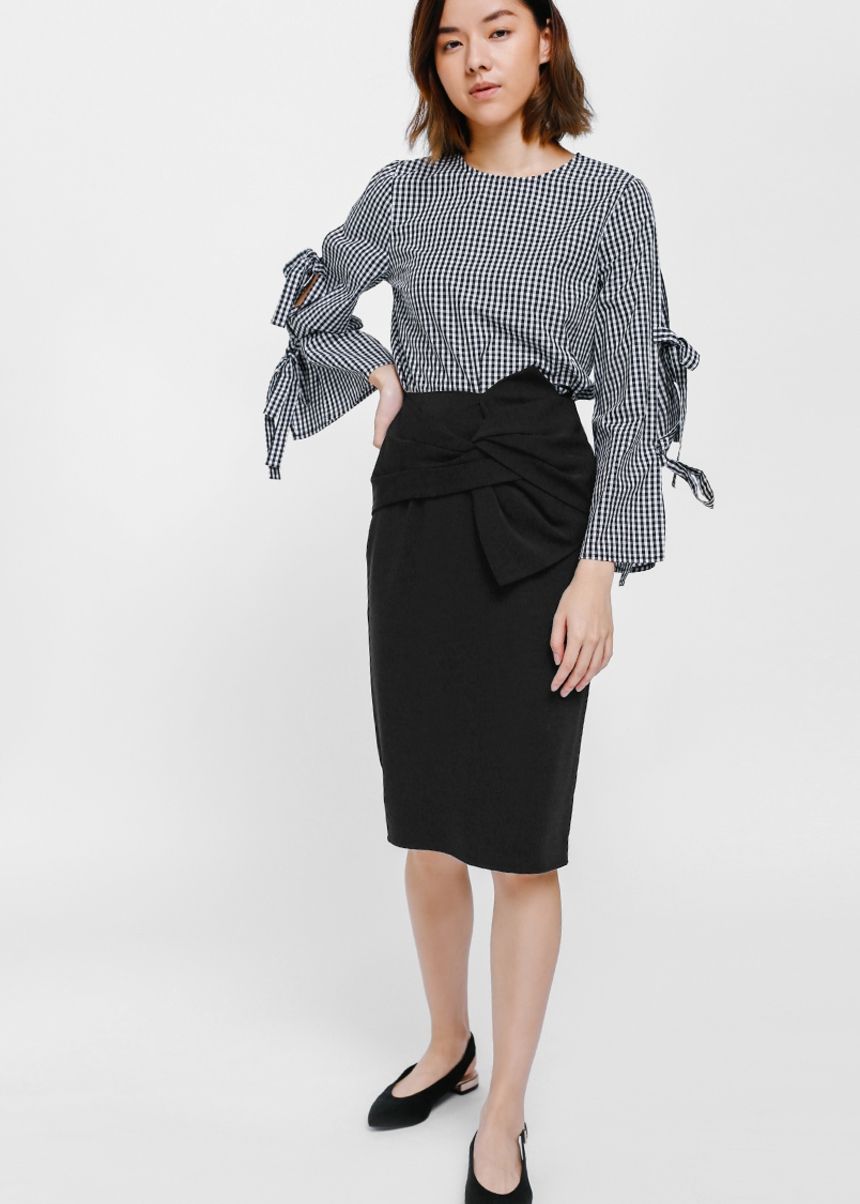 Hevra Knotted Pencil Skirt
