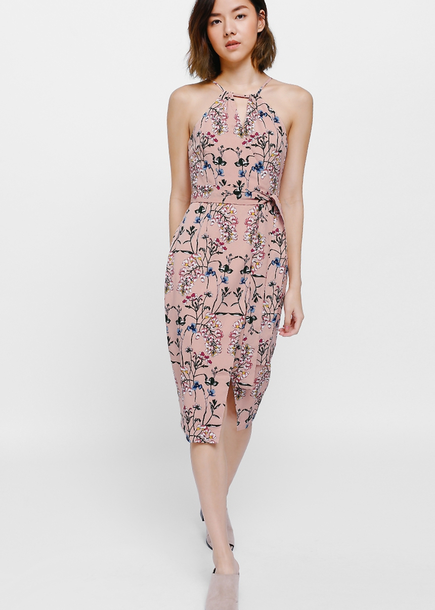 Feldon Floral Printed Crossover Sash Midi Dress