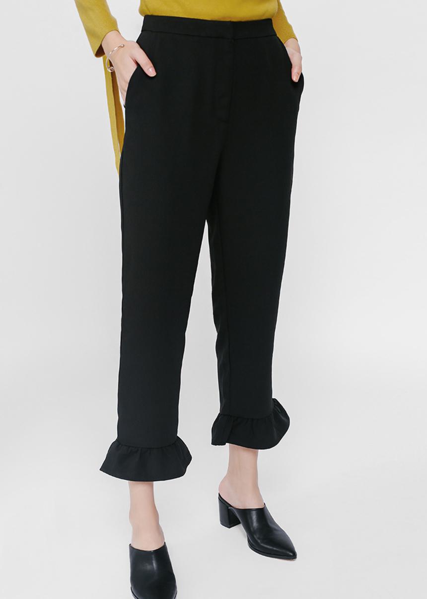 Poria Ruffle Hem Cropped Pants