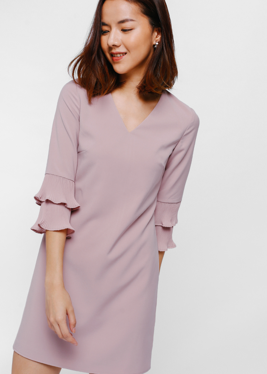 Stavie Layer Pleated Sleeve Dress