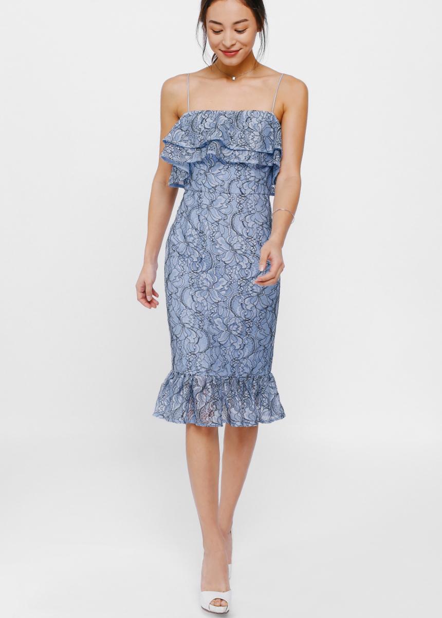 Byndi Layered Ruffle Lace Midi Dress