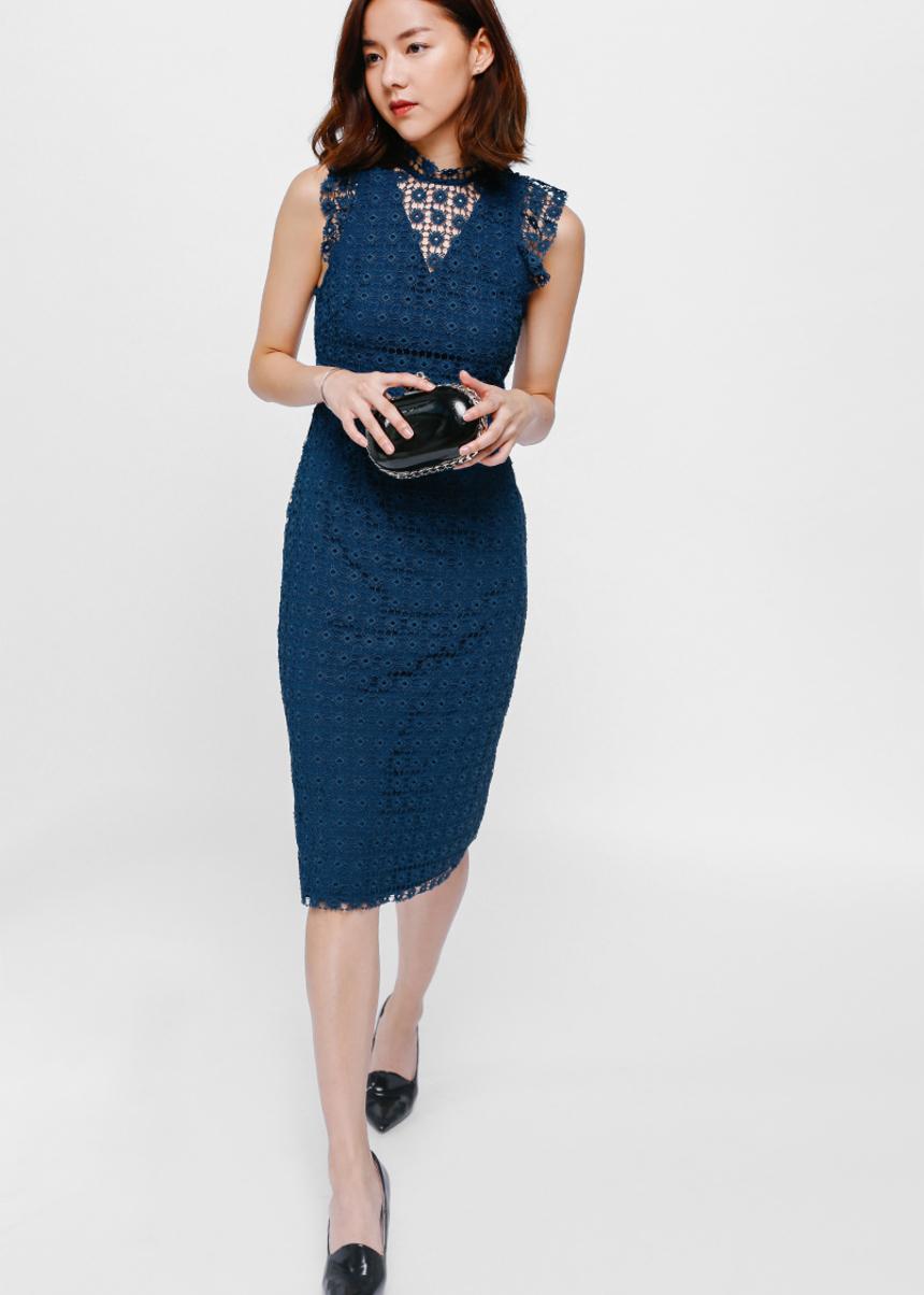 Cayline Crochet Overlay Midi Dress