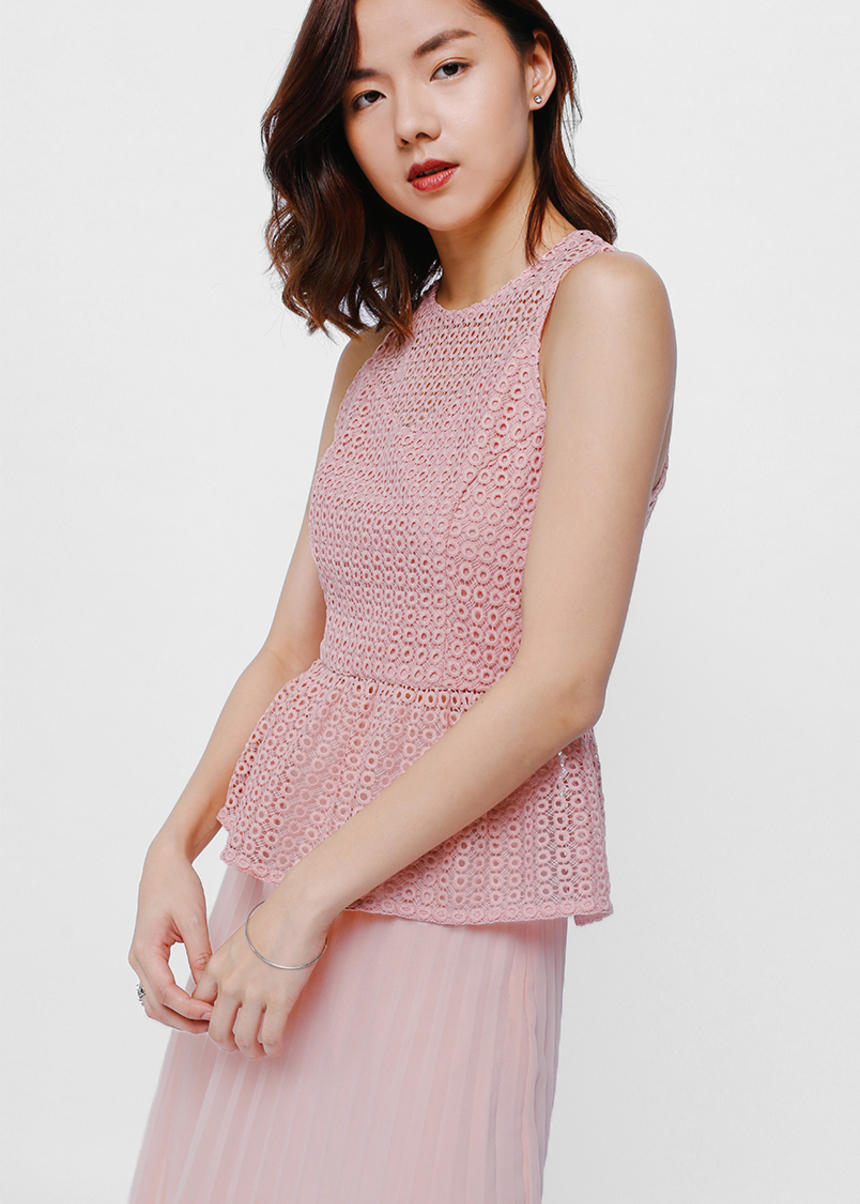 Caria Crochet Overlay Peplum Top