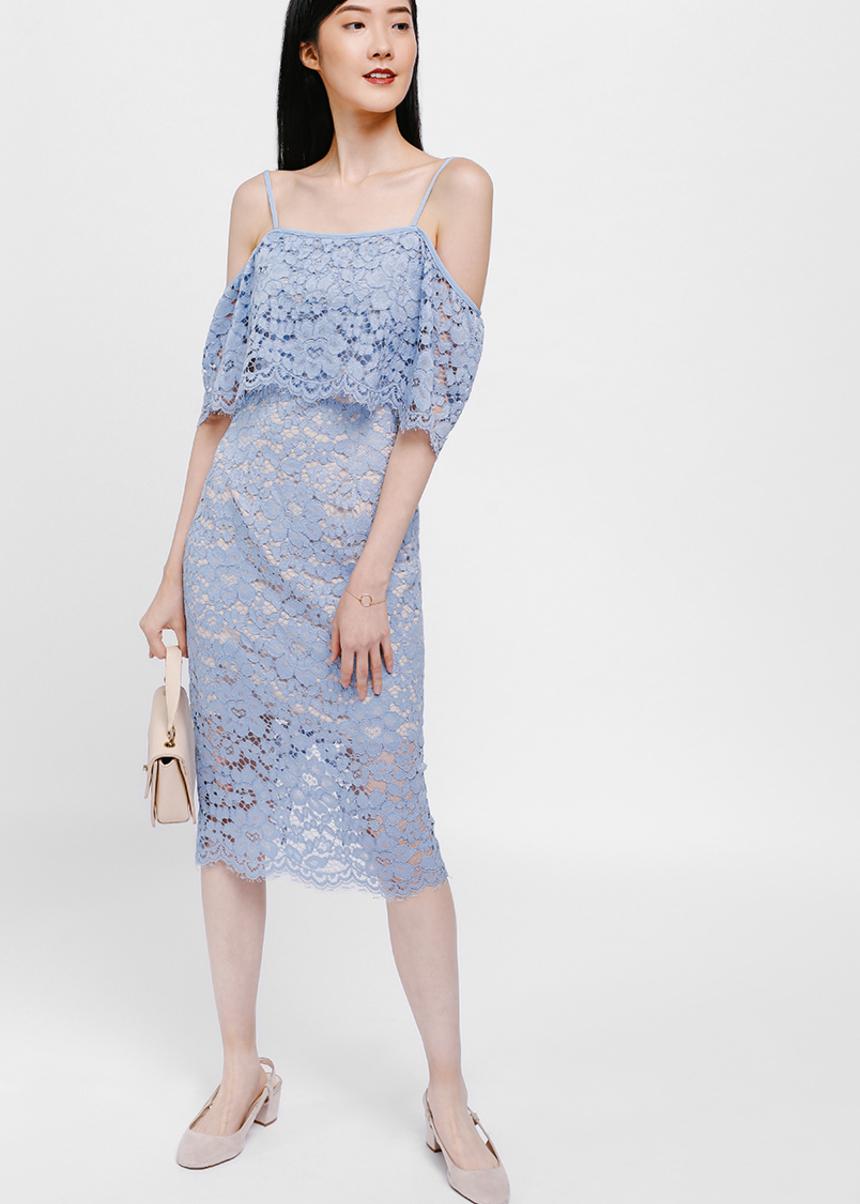 Brendia Off Shoulder Lace Midi Dress