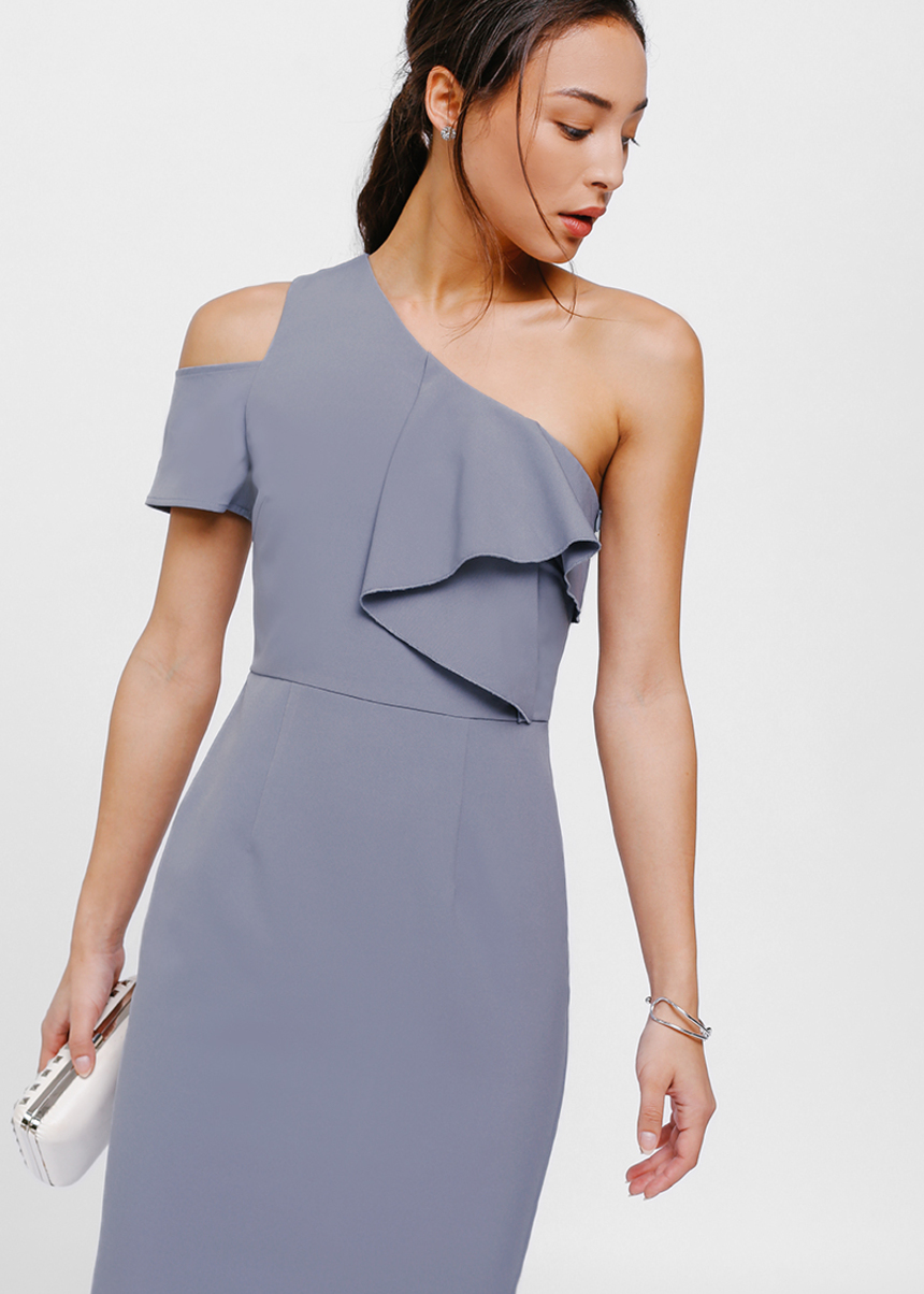 Maisy Cutout Shoulder Cascade Toga Dress