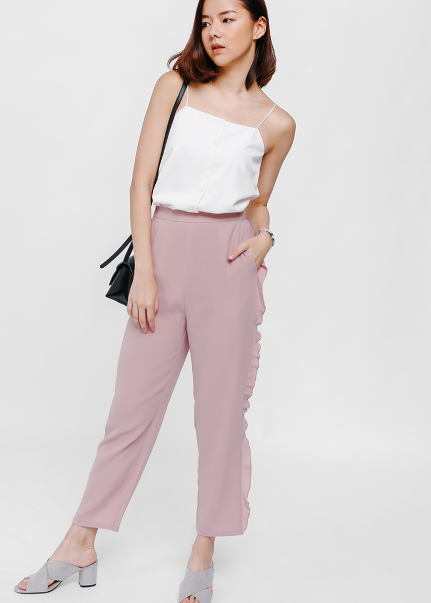Yaven Side Frill High Waist Cropped Pants
