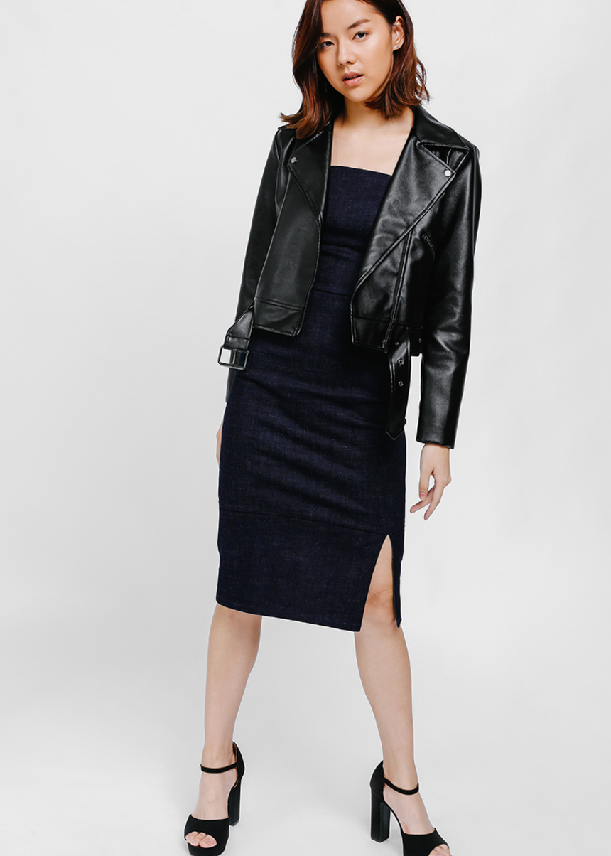 Brea Faux Leather Biker Jacket