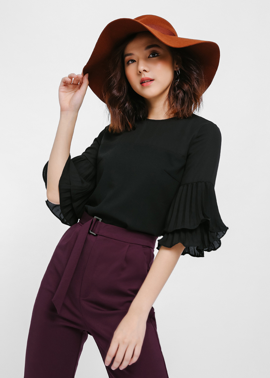 Adanya Pleated Layer Sleeve Top