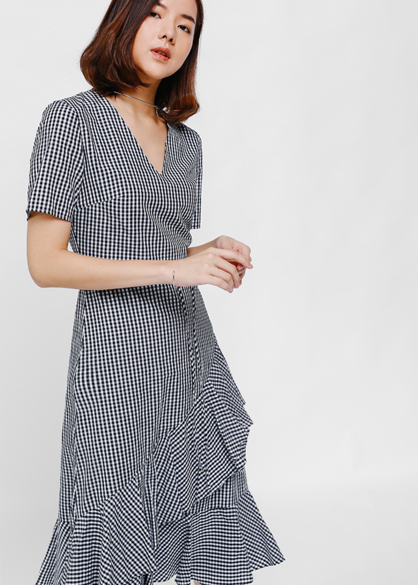 Yiara Gingham Asymmetrical Ruffle Hem Dress
