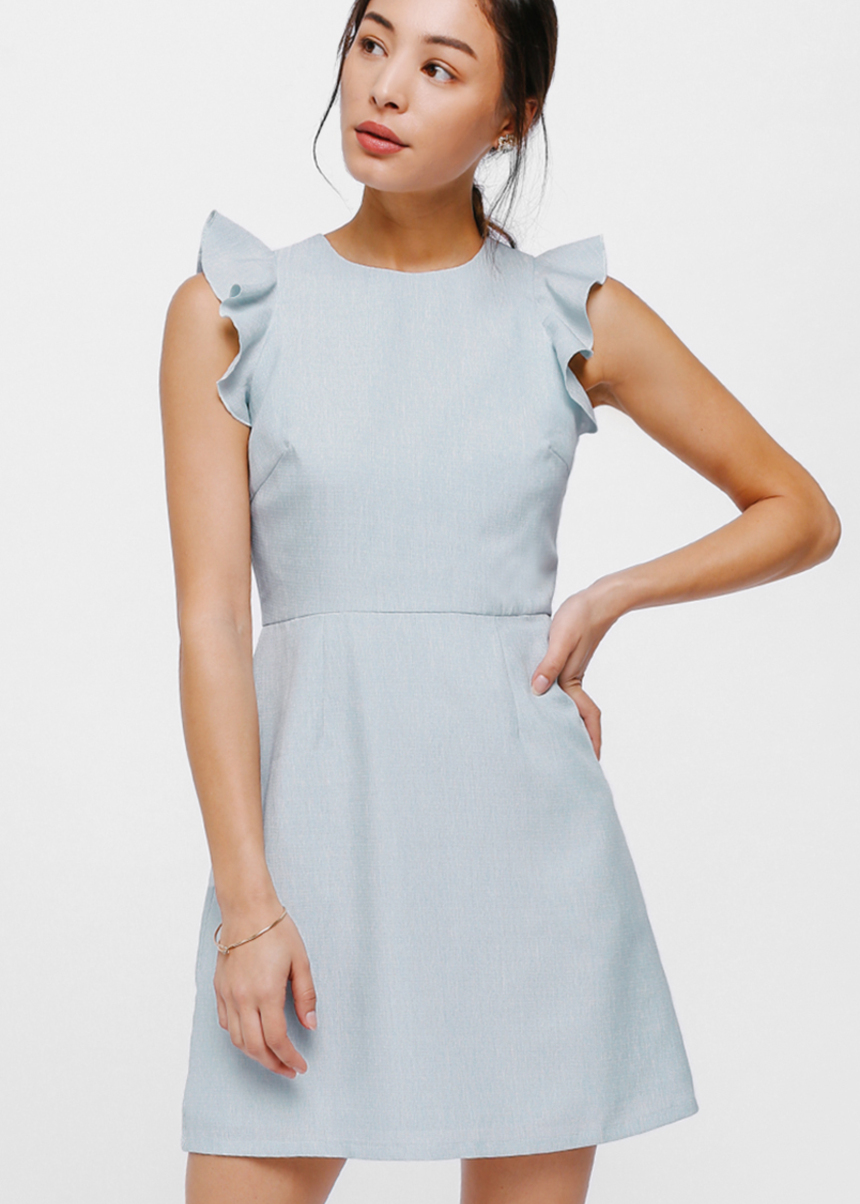 Duhesa Ruffle Trim Textured Dress