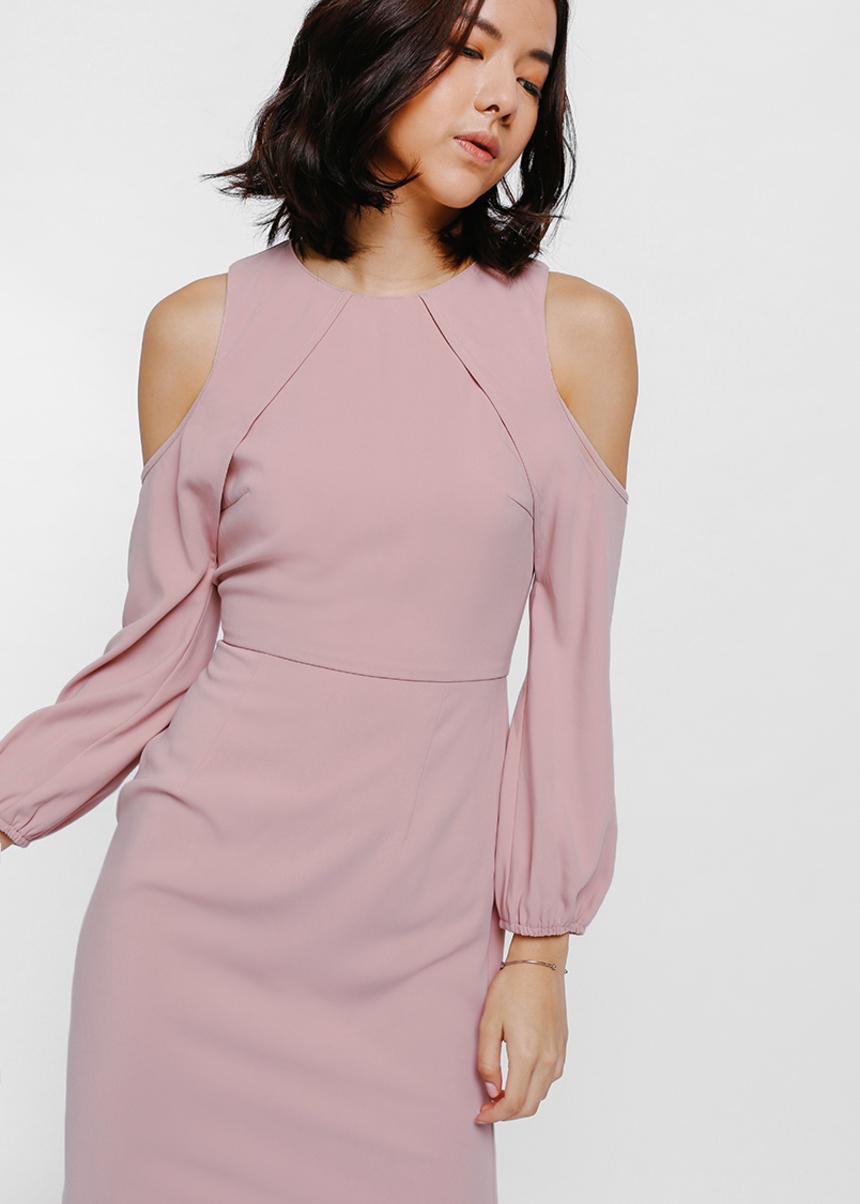 Diorya Cut Out Shoulder Midi Dress