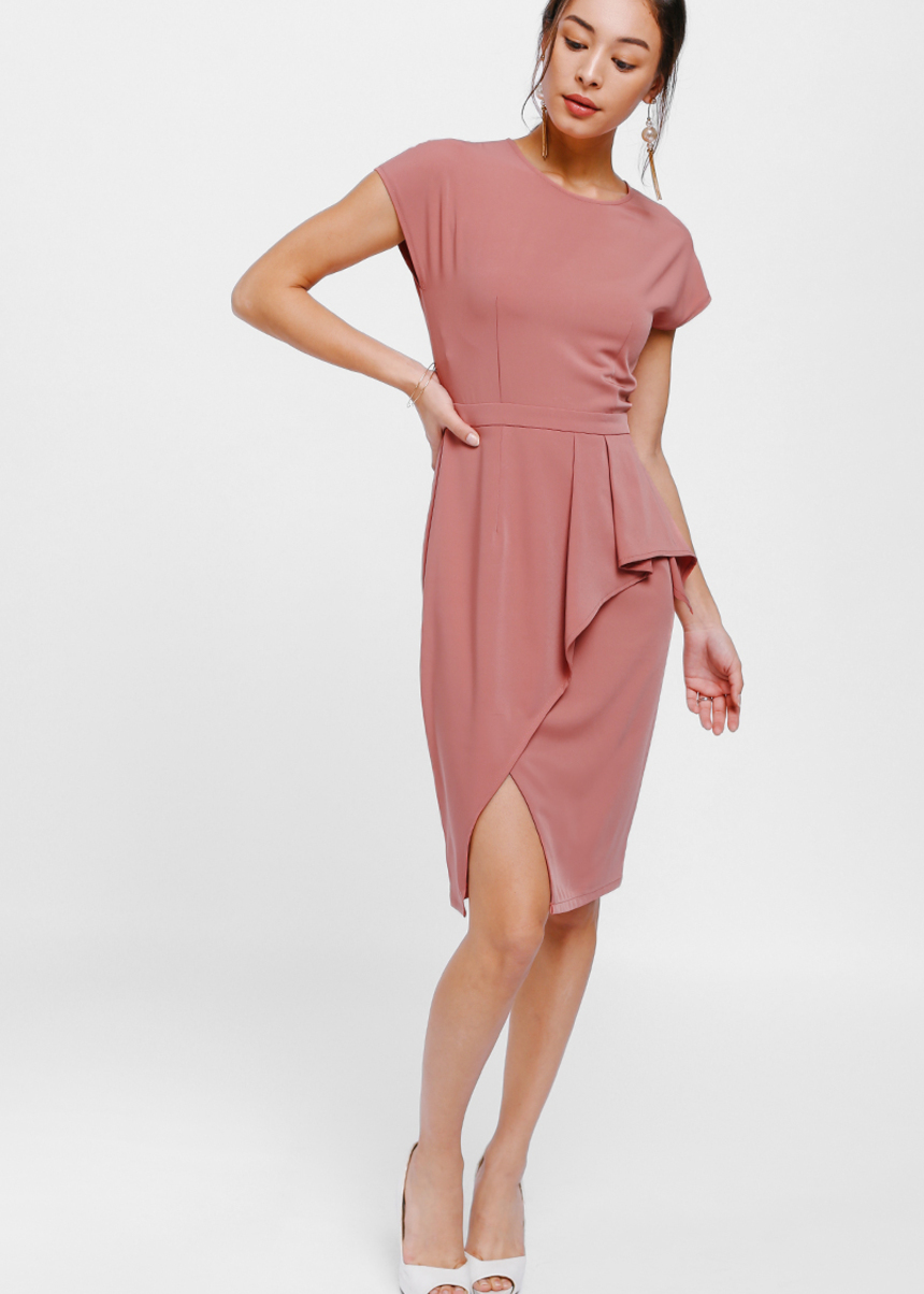 Gygle Asymmetrical Side Pleat Slit Dress