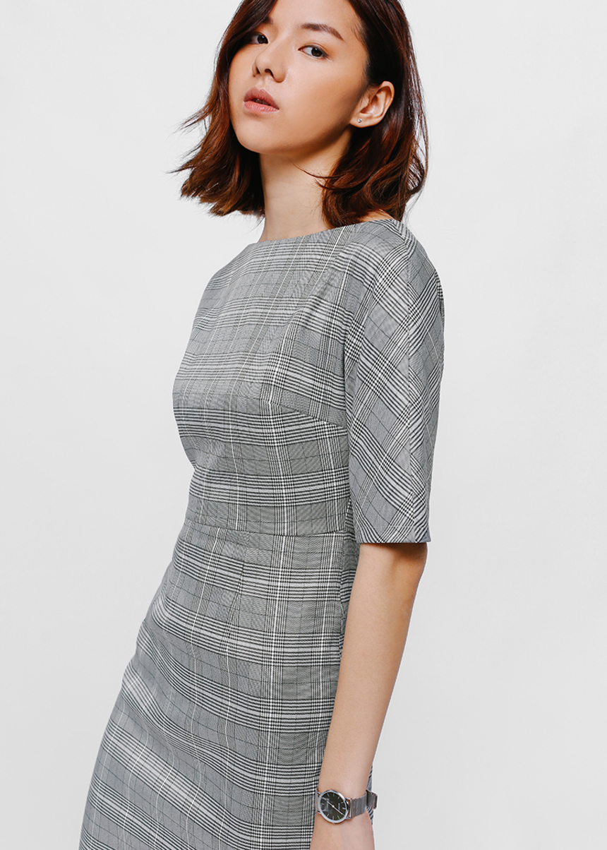 Prischa Tweed Tailored Midi Dress