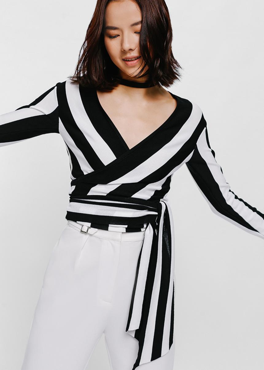 Tressine Striped Wrap Knit Top