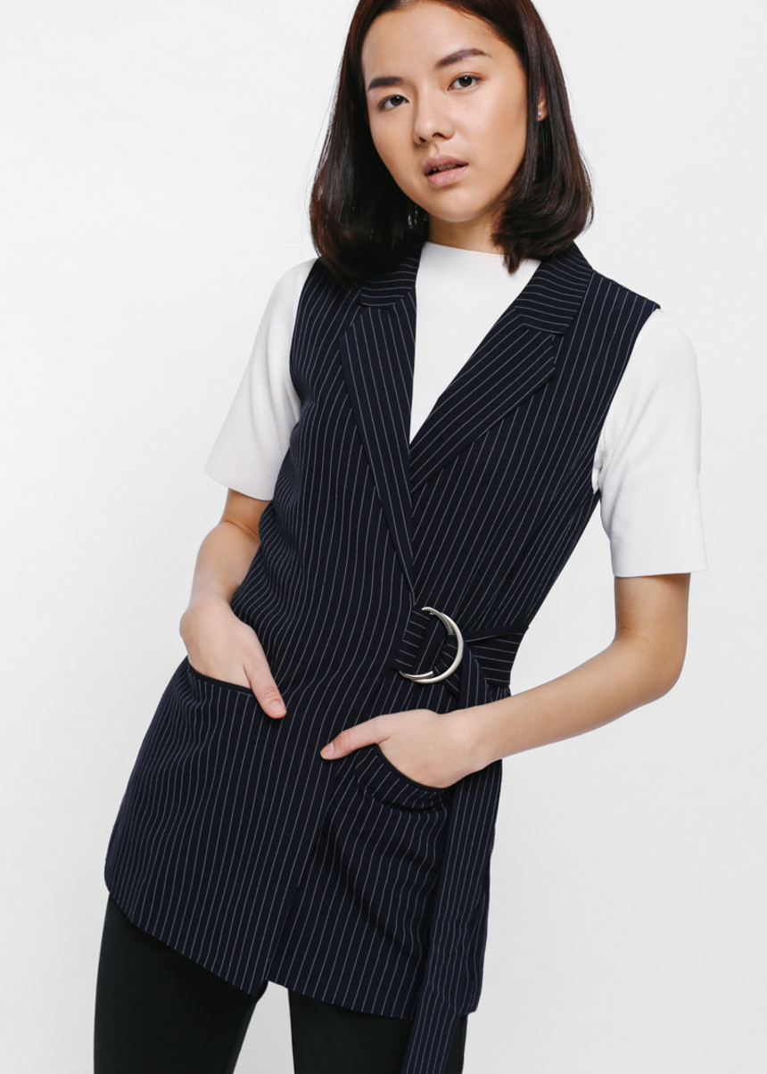 Poriana Pinstriped Side Buckle Belt Vest