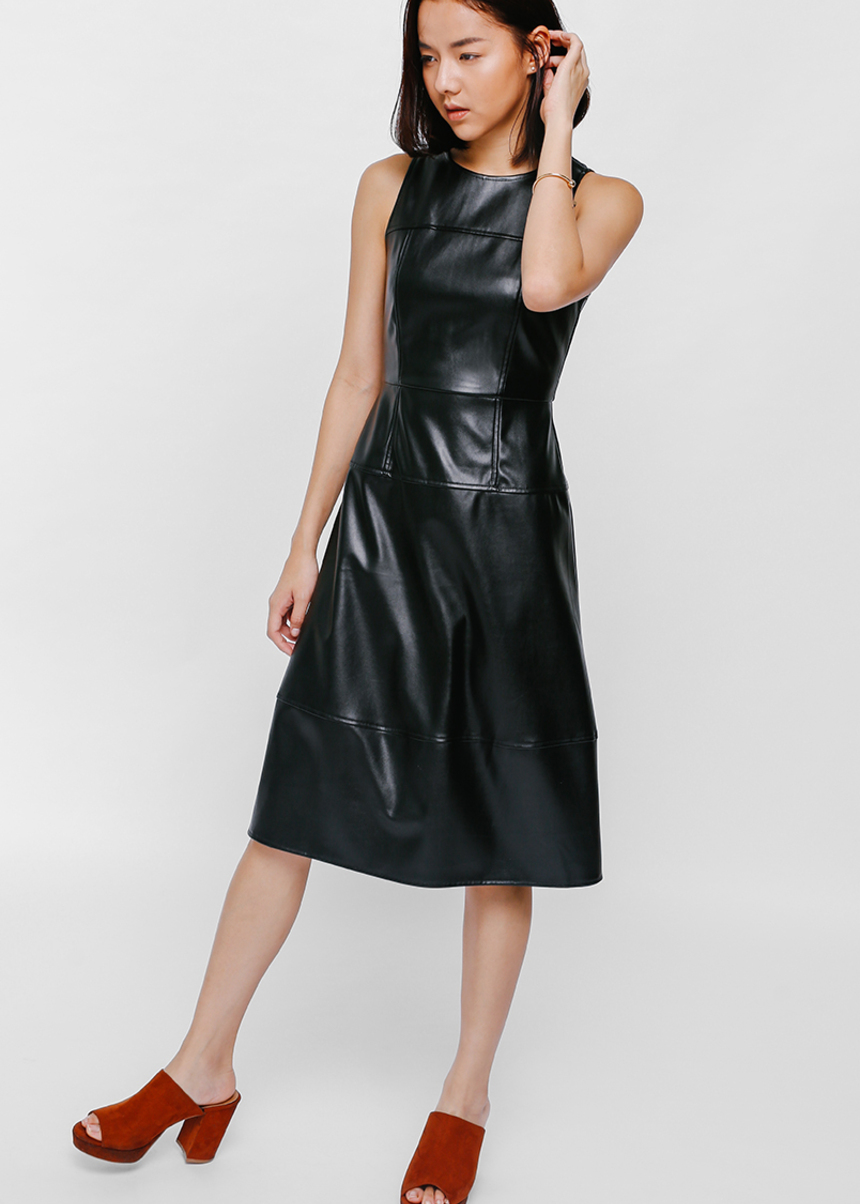 Bryndie Faux Leather Midi Dress