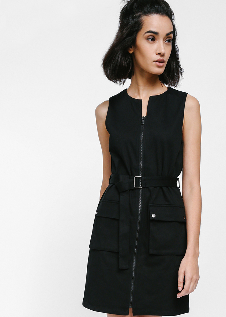 Kyeri Utilitarian Belted Pocket Dress