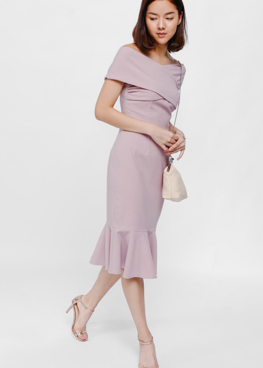 Rosamonde Off Shoulder Trumpet Dress