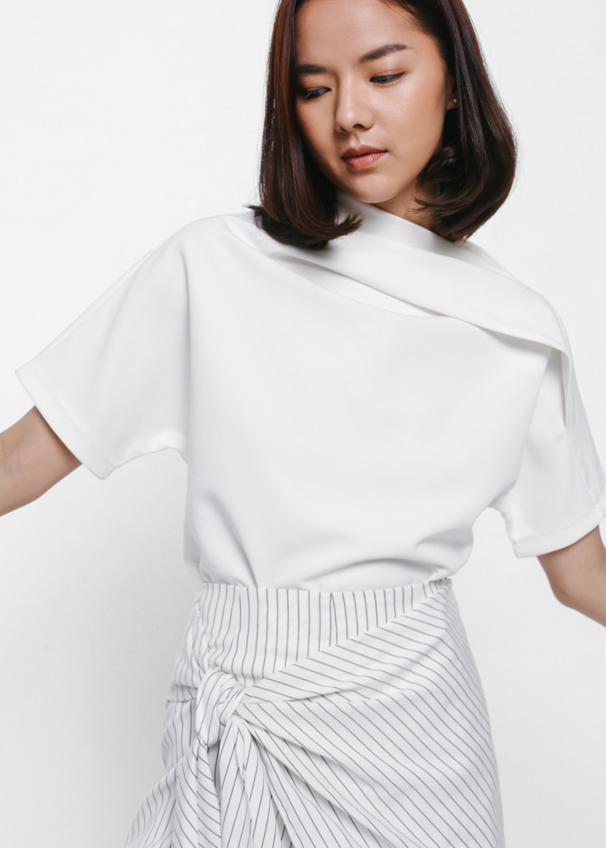 Belrese Asymmetrical Ruched High Neck Top