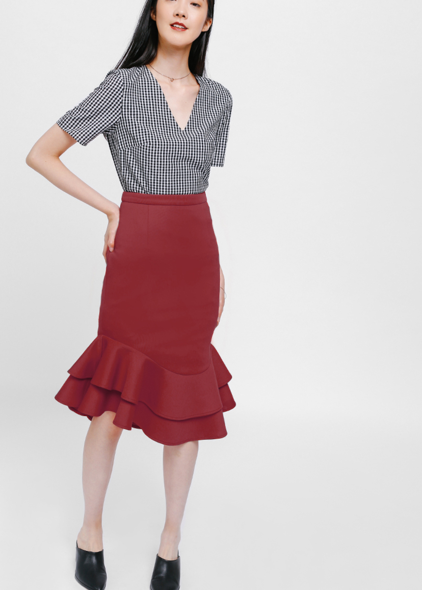Maxyn Asymmetrical Layered Ruffle Skirt
