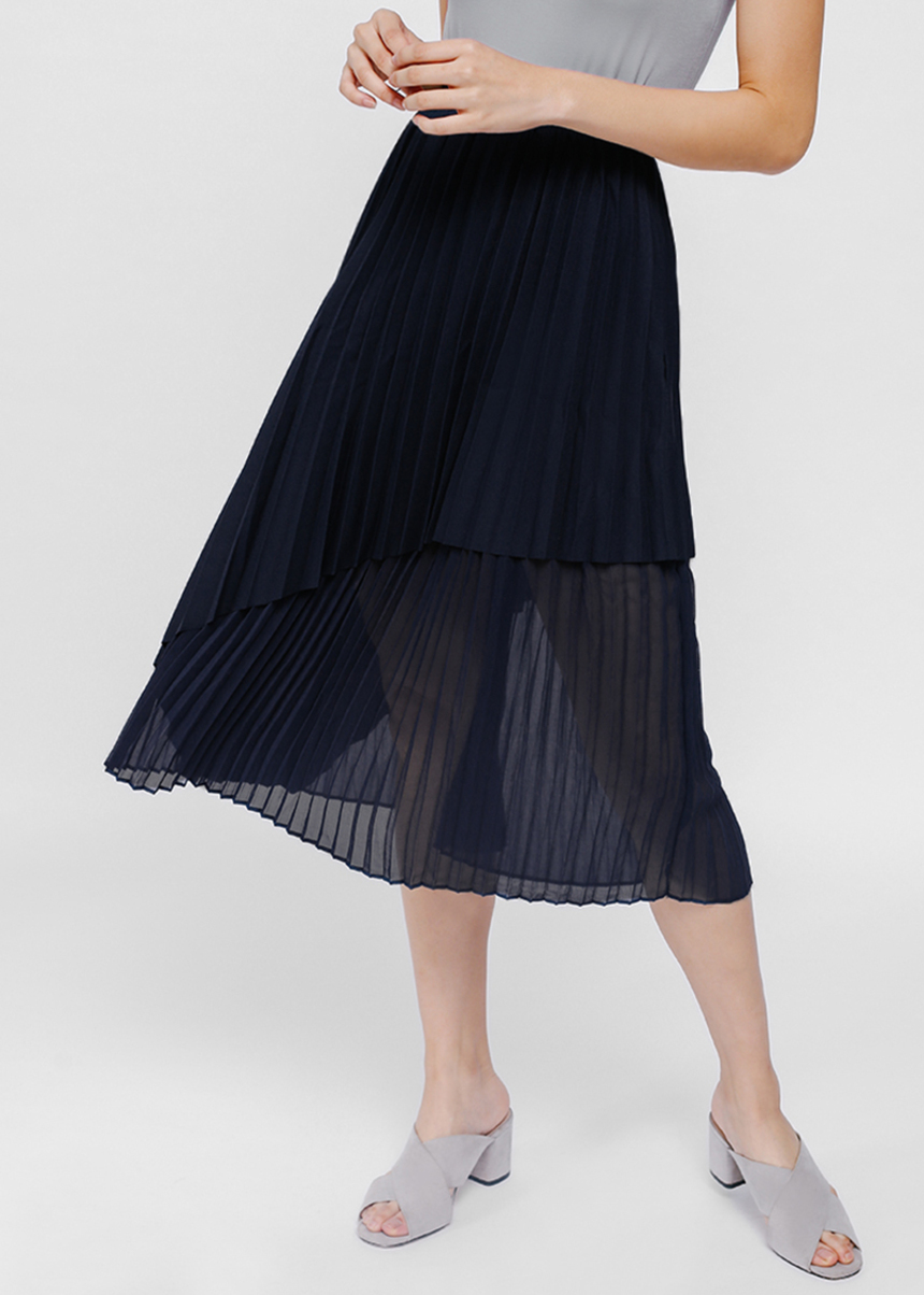 Fillioe Asymmetrical Layered Pleated Midi Skirt