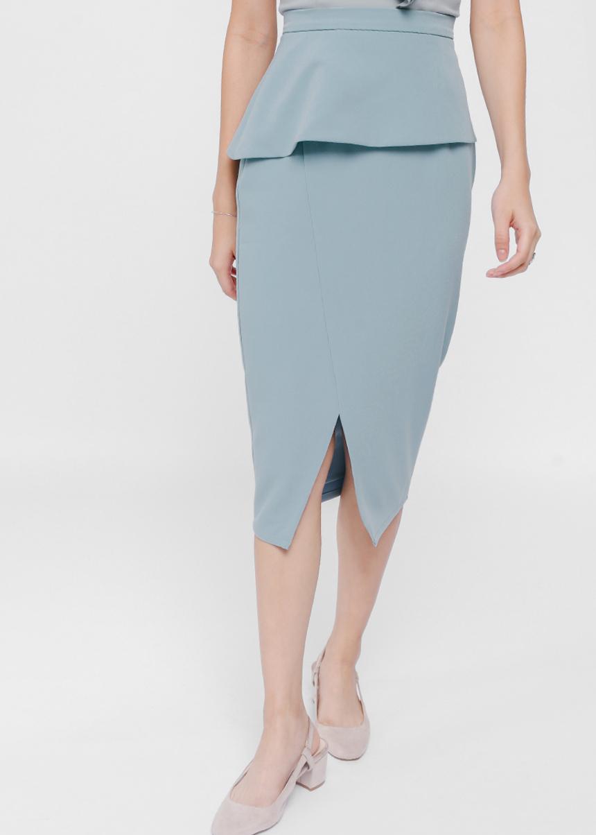 Kessla Asymmetrical Peplum Midi Skirt