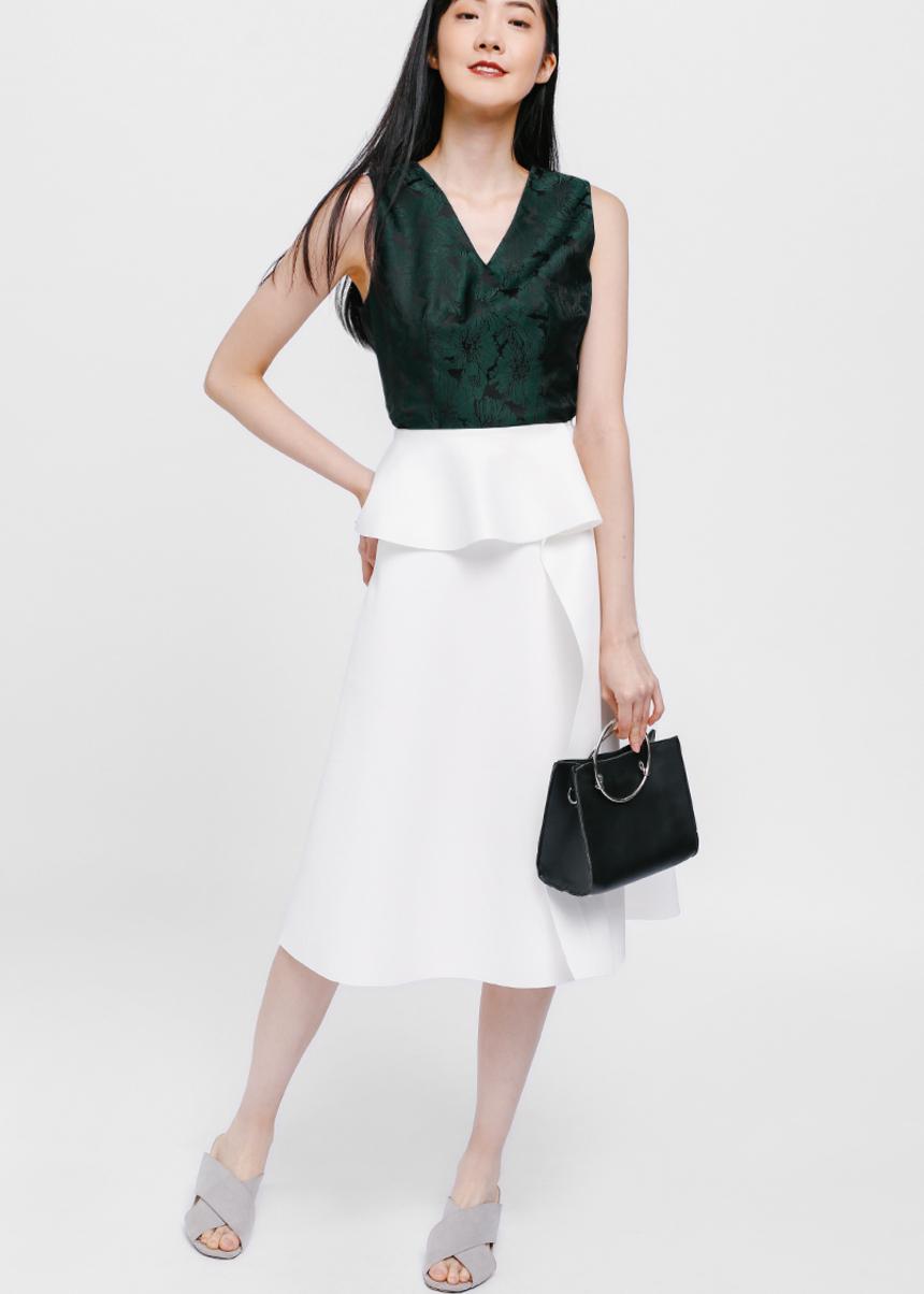 Myona Asymmetrical Cascade Midi Skirt