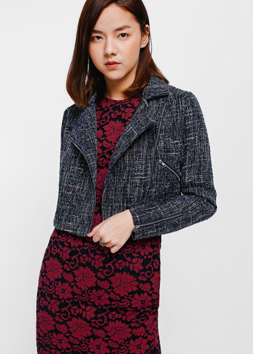 Tahitia Cropped Tweed Biker Jacket