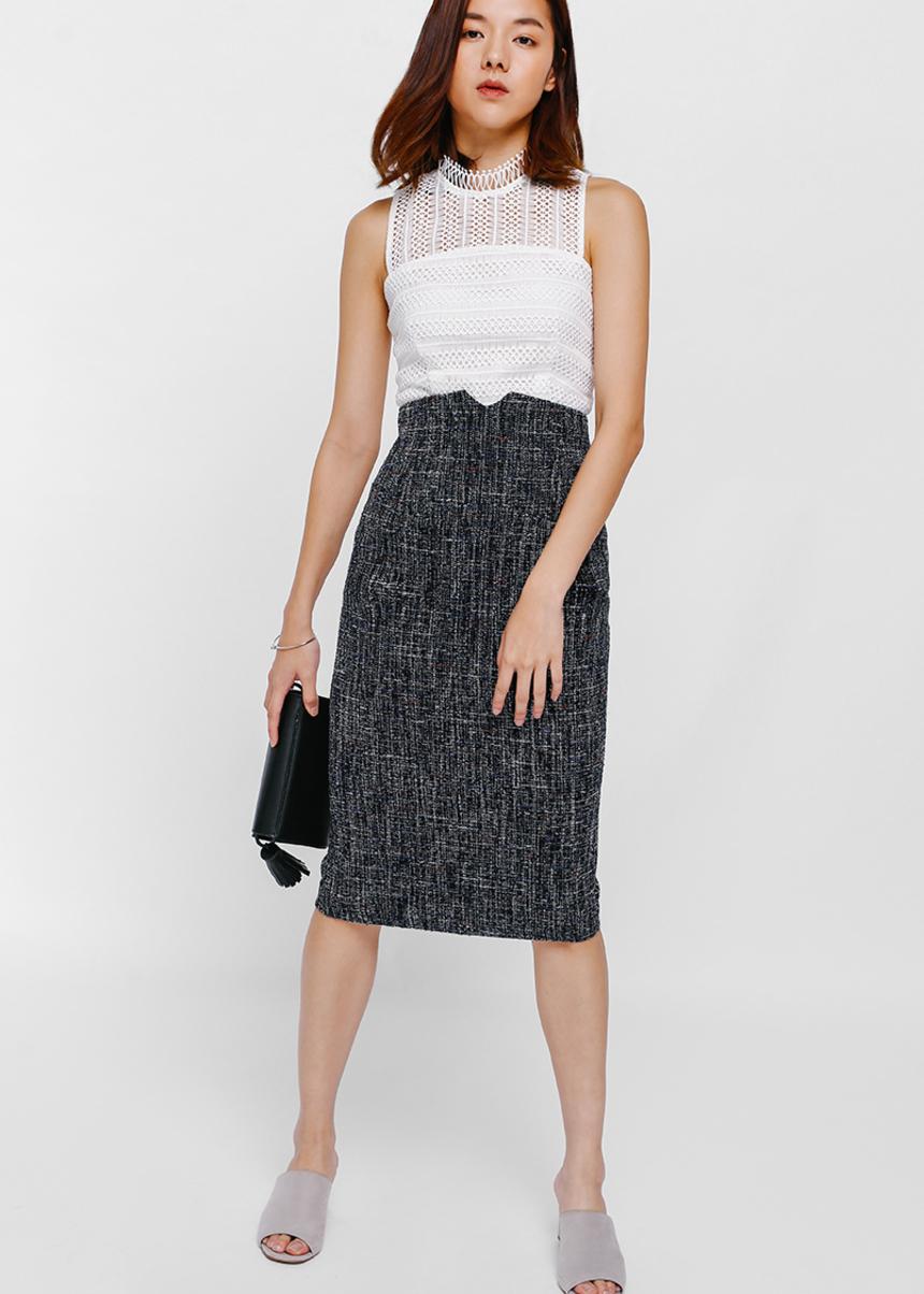 Tahitia Tweed High Waist Skirt