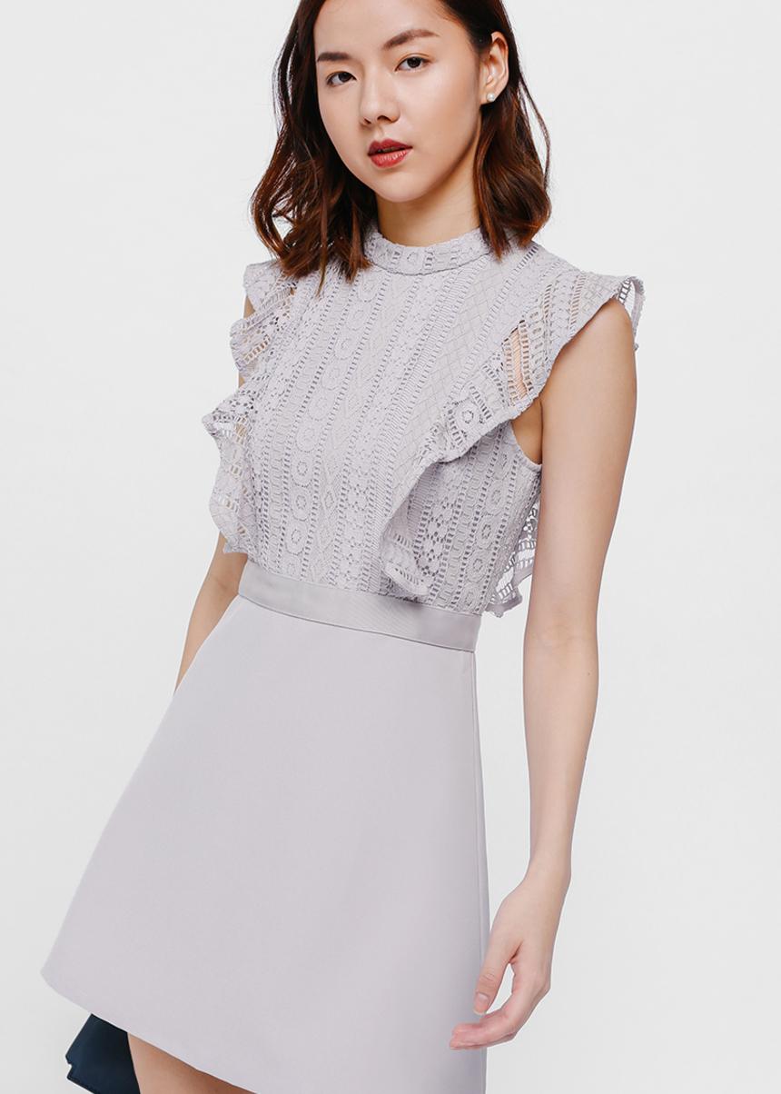ad5db25e Buy Daia Lace Ruffle Shoulder Dress @ Love, Bonito Singapore | Shop ...